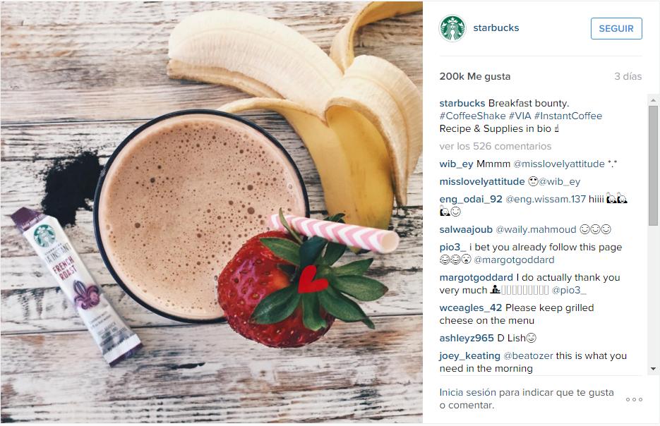 Screenshot taken from Starbucks Instagram Profile