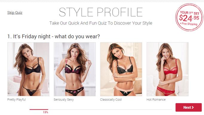 Screenshot: Adore Me's Quiz on Homepage