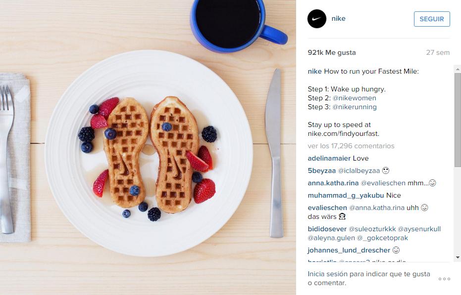 Screenshot taken from Nike Instagram Profile